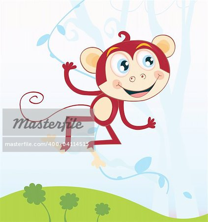 Funny animal jumping in jungle. Vector Illustration. See similar pictures in my portfolio! Stock Photo - Budget Royalty-Free, Image code: 400-04114513