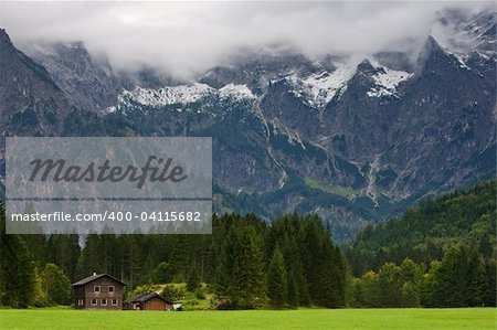 View to the Totes Gebirge Mountains from to Almsee, Almtal valley, Austria