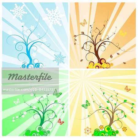 Four Seasons Tree Stock Photo - Budget Royalty-Free, Image code: 400-04115721