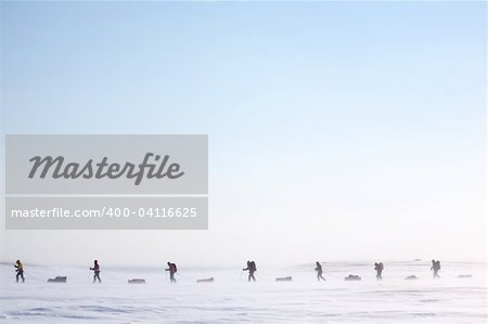 A group of adventurers on a arctic expedition Stock Photo - Budget Royalty-Free, Image code: 400-04116625