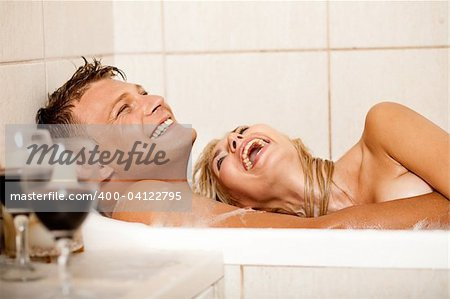 Happy couple bathing Stock Photo - Budget Royalty-Free, Image code: 400-04122795