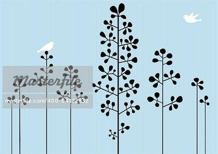 Abstract floral background with birds, vector