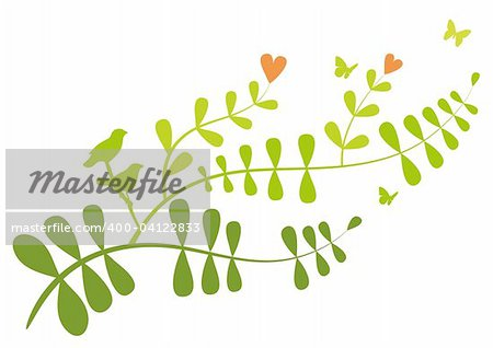Floral branch with heart flowers and birds, vector background Stock Photo - Budget Royalty-Free, Image code: 400-04122833