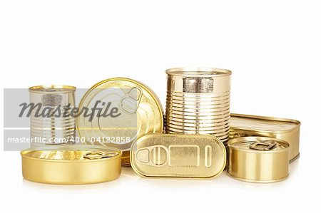 Assortment of golden food tin can reflected on white background Stock Photo - Budget Royalty-Free, Image code: 400-04122858