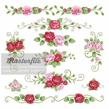 Collection in the victorian style with roses. Elements for your design.