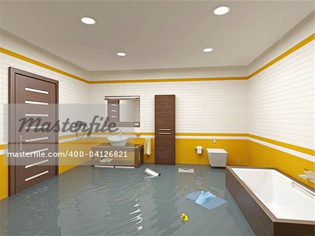 flooding bathroom interior ( 3D rendering ) Stock Photo - Budget Royalty-Free, Image code: 400-04126821