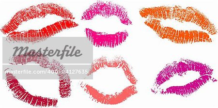 vector set of Red lipstick marks