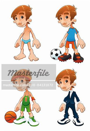 Type of dresses, funny cartoon and vector characters Stock Photo - Budget Royalty-Free, Image code: 400-04131072