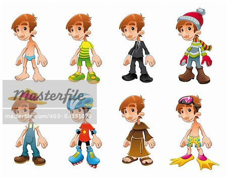 Dress and workers, funny cartoon and vector characters Stock Photo - Budget Royalty-Free, Image code: 400-04131073