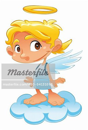 Baby Angel, funny cartoon and vector character Stock Photo - Budget Royalty-Free, Image code: 400-04131093