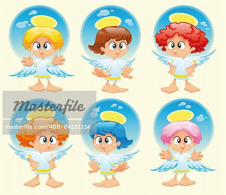 Family of angels with background. Funny vector and cartoon characters Stock Photo - Budget Royalty-Free, Image code: 400-04131114