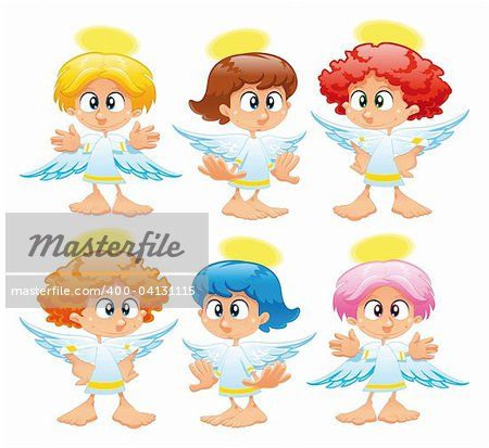 Family of angels. Funny vector and cartoon characters Stock Photo - Budget Royalty-Free, Image code: 400-04131115