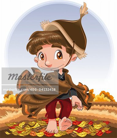 Autumn Character, cartoon and vector character Stock Photo - Budget Royalty-Free, Image code: 400-04132418