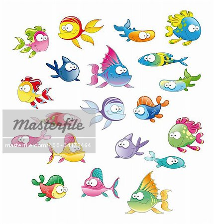 Family of fish, cartoon vector characters Stock Photo - Budget Royalty-Free, Image code: 400-04132464