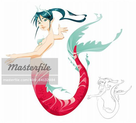 Mermaid (color and Black/White lines) - cartoon and vector mythologycal character Stock Photo - Budget Royalty-Free, Image code: 400-04132484