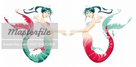 Two mermaids - cartoon and vector mythologycal characters Stock Photo - Budget Royalty-Free, Image code: 400-04132485