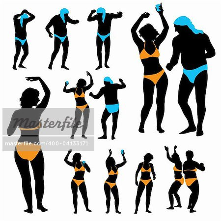 A set of dancing people silhouettes at a summer party Stock Photo - Budget Royalty-Free, Image code: 400-04133171