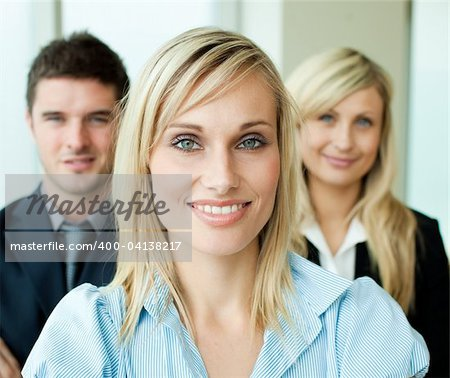 Portrait of a beautiful businesswoman in front of her team Stock Photo - Budget Royalty-Free, Image code: 400-04138217