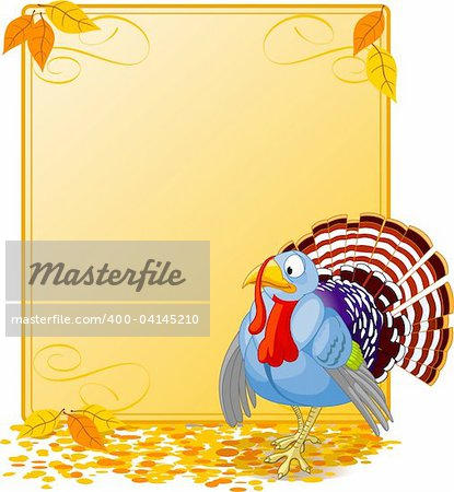 Cartoon turkey strutting with plumage. Elements are layered for easy editing.  Great for invitations, announcements, place cards, etc. Stock Photo - Budget Royalty-Free, Image code: 400-04145210