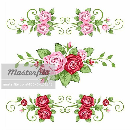 Vector retro roses border for greetings cards, design or backgrounds. All elements are on separate layers for easy editing and color change.