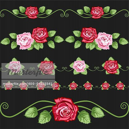 Vector retro roses elements for greetings cards, design or backgrounds. All elements are on separate layers for easy editing and color change.