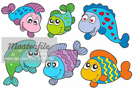 Crazy fishes collection - vector illustration. Stock Photo - Budget Royalty-Free, Image code: 400-04157385