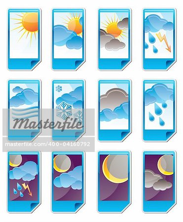 Weather and nature icons vector icon set