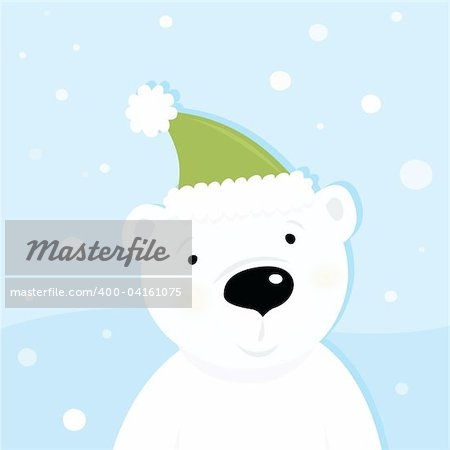 Cute polar bear character with snowy background. Vector cartoon illustration. Stock Photo - Budget Royalty-Free, Image code: 400-04161075
