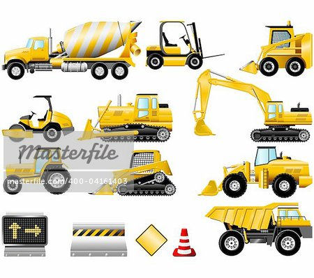 Construction Machinery icons isolated on the white Stock Photo - Budget Royalty-Free, Image code: 400-04161403
