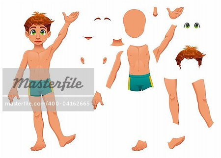 Parts of body. Cartoon and vector separated elements. Stock Photo - Budget Royalty-Free, Image code: 400-04162665