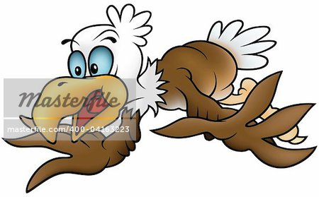 Flying Bald Eagle - colored cartoon illustration + vector
