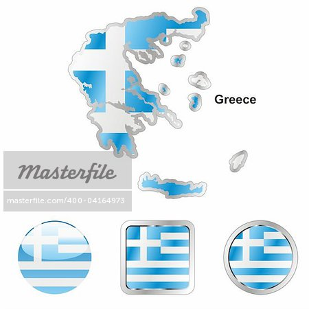 fully editable vector flag of greece in map and web buttons shapes Stock Photo - Budget Royalty-Free, Image code: 400-04164973