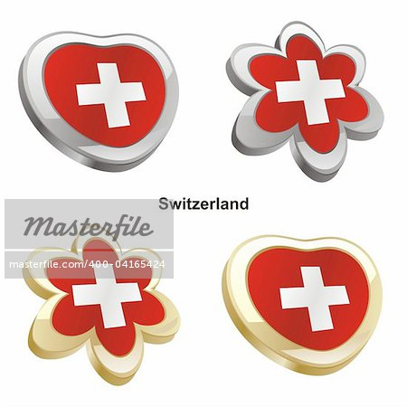 fully editable vector illustration of switzerland flag in heart and flower shape Stock Photo - Budget Royalty-Free, Image code: 400-04165424