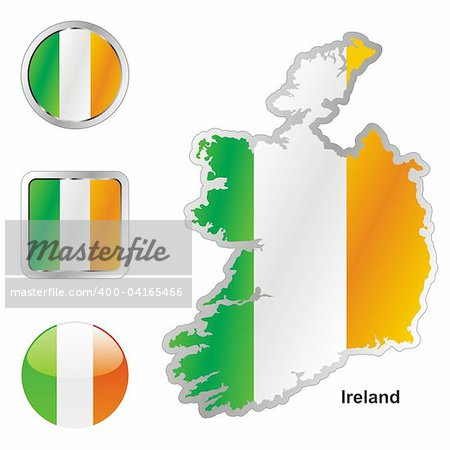 fully editable vector flag of ireland in map and web buttons shapes Stock Photo - Budget Royalty-Free, Image code: 400-04165466
