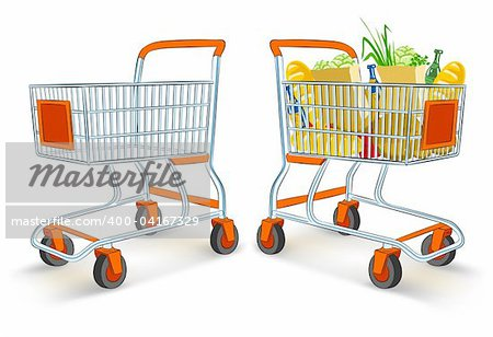full and empty shopping carts from supermarket store - vector illustration, isolated on white background Stock Photo - Budget Royalty-Free, Image code: 400-04167329