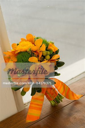 Image of a beautiful floral bouquet in window sill Stock Photo - Budget Royalty-Free, Image code: 400-04170371