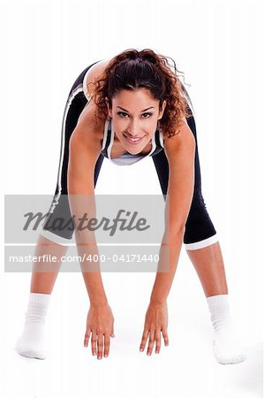 Women bending down and doing her excercise on white background Stock Photo - Budget Royalty-Free, Image code: 400-04171440