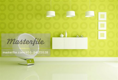 fashion armchair in front a geometrical green wallpaper -rendering Stock Photo - Budget Royalty-Free, Image code: 400-04172028