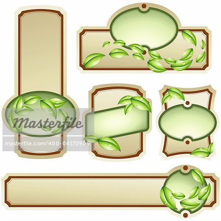 Collection of five elegant labels with an environmental design. Graphics are grouped and in several layers for easy editing. The file can be scaled to any size.