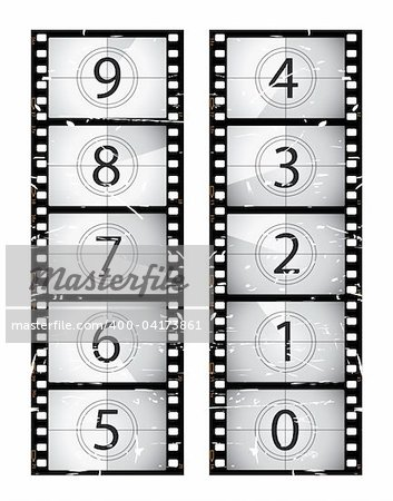 Old film strip countdown.  Please check my portfolio for more film illustrations. Stock Photo - Budget Royalty-Free, Image code: 400-04173861
