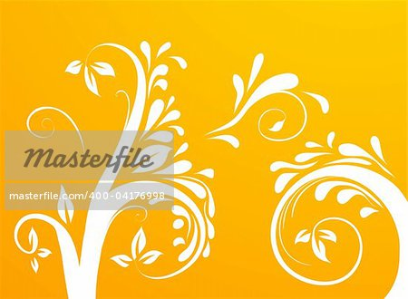 drawing of tree and vines pattern in an orange background