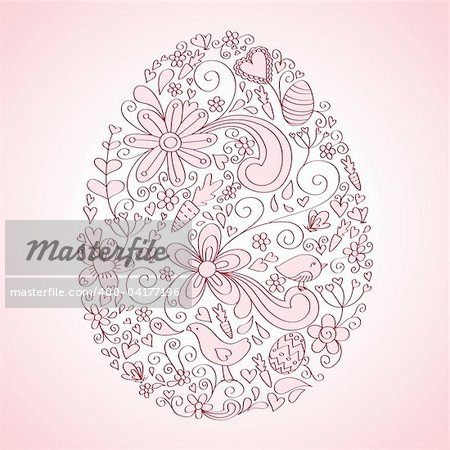 Egg shape hand-drawn greeting card design with floral, bird and vine elements.  Colors are grouped and easily editable.