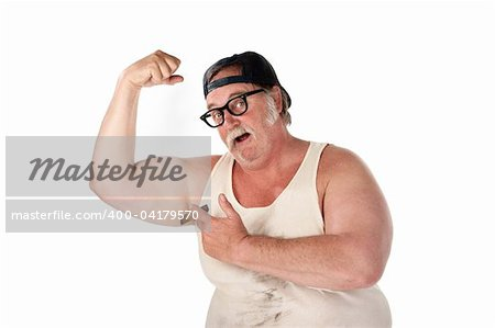 Obese man in tee shirt on white background Stock Photo - Budget Royalty-Free, Image code: 400-04179570