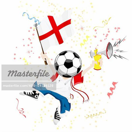 England Soccer Fan with Ball Head. Editable Vector Illustration Stock Photo - Budget Royalty-Free, Image code: 400-04186128