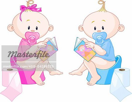 Little babies ? girl and boy are sitting on potties with open books Stock Photo - Budget Royalty-Free, Image code: 400-04188339