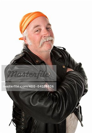 Smiling biker gang member with leather jacket Stock Photo - Budget Royalty-Free, Image code: 400-04188836