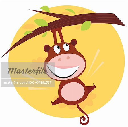 Vector cartoon illustration of brown cute monkey hanging from tree branch. Sunset scene behind monkey. Stock Photo - Budget Royalty-Free, Image code: 400-04191327
