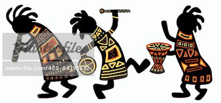 Dancing musicians. African national patterns Stock Photo - Budget Royalty-Free, Image code: 400-04193672