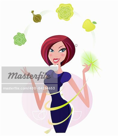 Green vegetable makes slim figure! Woman with perfect body shape shows healthy food. Vector illustration. Stock Photo - Budget Royalty-Free, Image code: 400-04194653
