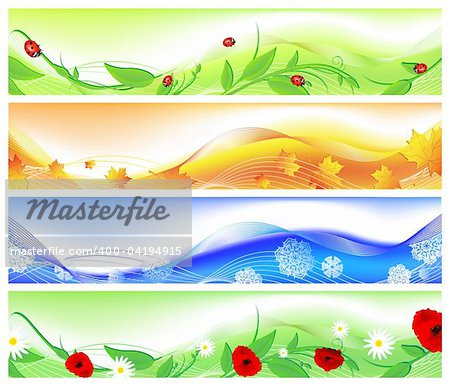 horizontal four seasons web banners. Summer, autumn, winter and spring Stock Photo - Budget Royalty-Free, Image code: 400-04194915